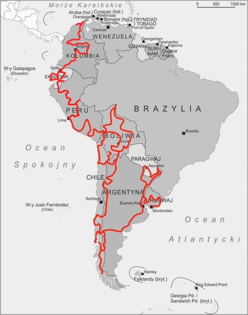 Trasa wyprawy Ameryka Południowa