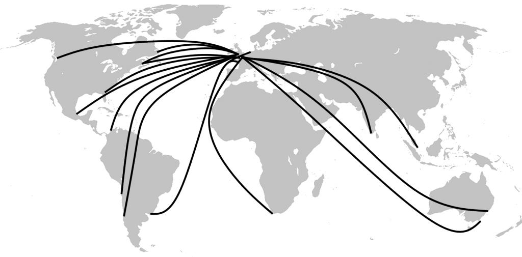 Transport samocodów, mapa